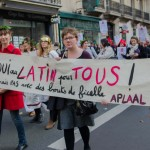 FRANCE, Paris : People hold a banner saying Yes to the Latin for all during a demonstration in Paris on October 10, 2015, in Paris against the middle school reform. Thousands participated in the march from Port-Royal to the Ministry of Education against the reform, which is meant to strengthen interdisciplinarity, personalized support and institutional autonomy. - CITIZENSIDE/SAœD ANAS